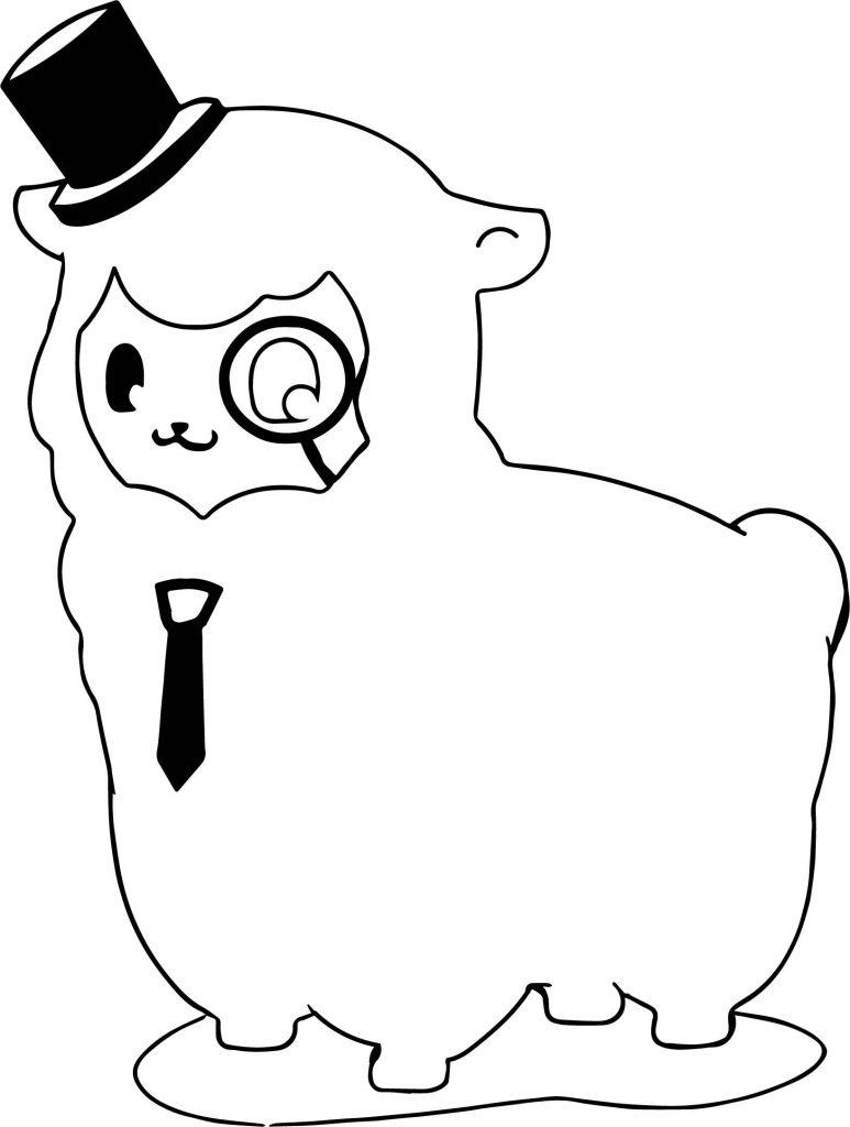 Funny Llama Coloring Page