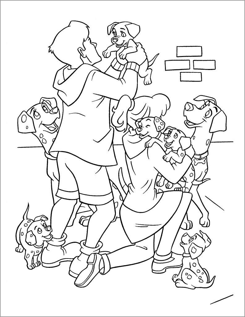 Happy 101 Dalmations Coloring Pages