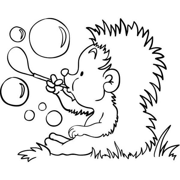 Hedgehog Blowing Bubbles Coloring Page