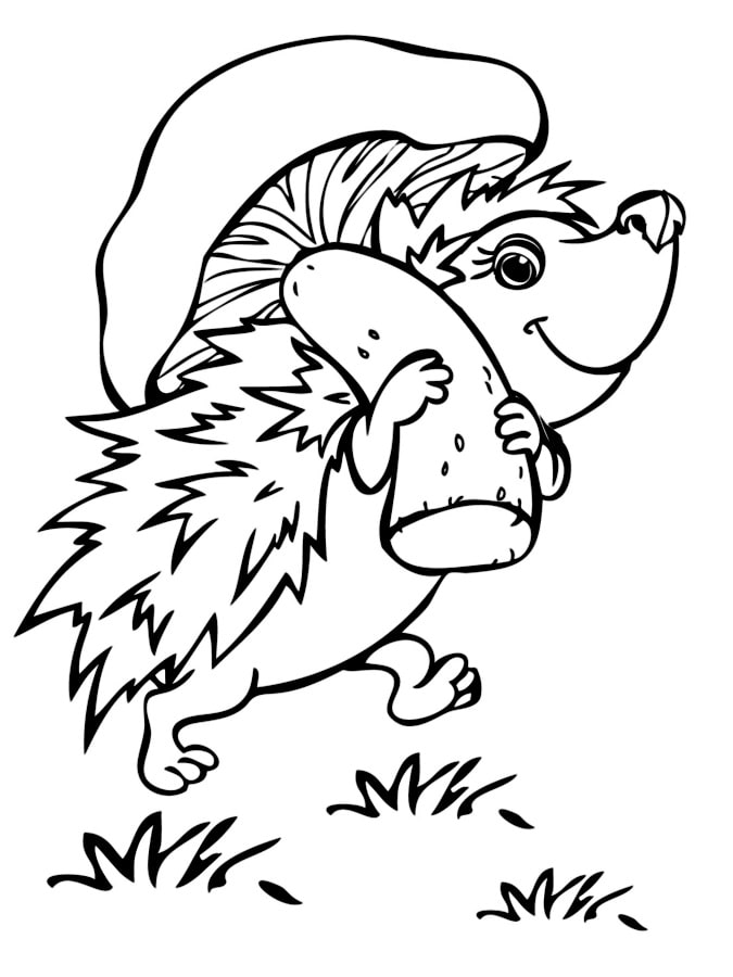 Hedgehog Carrying Mushroom Coloring Pages