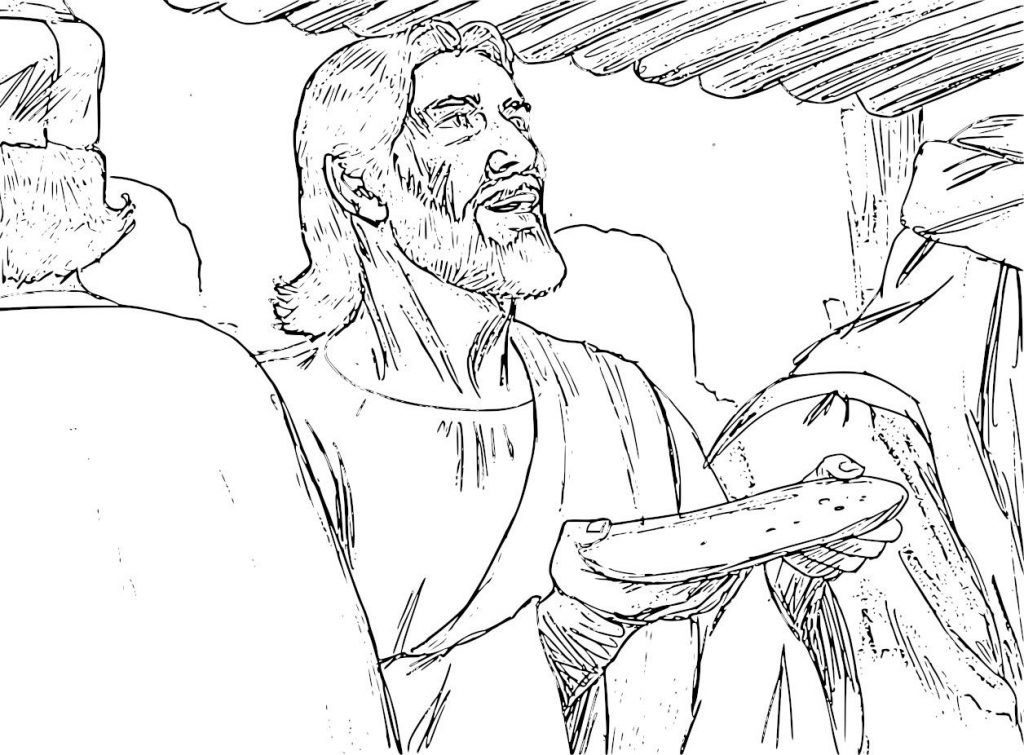 Jesus with Bread at Last Supper Coloring Page