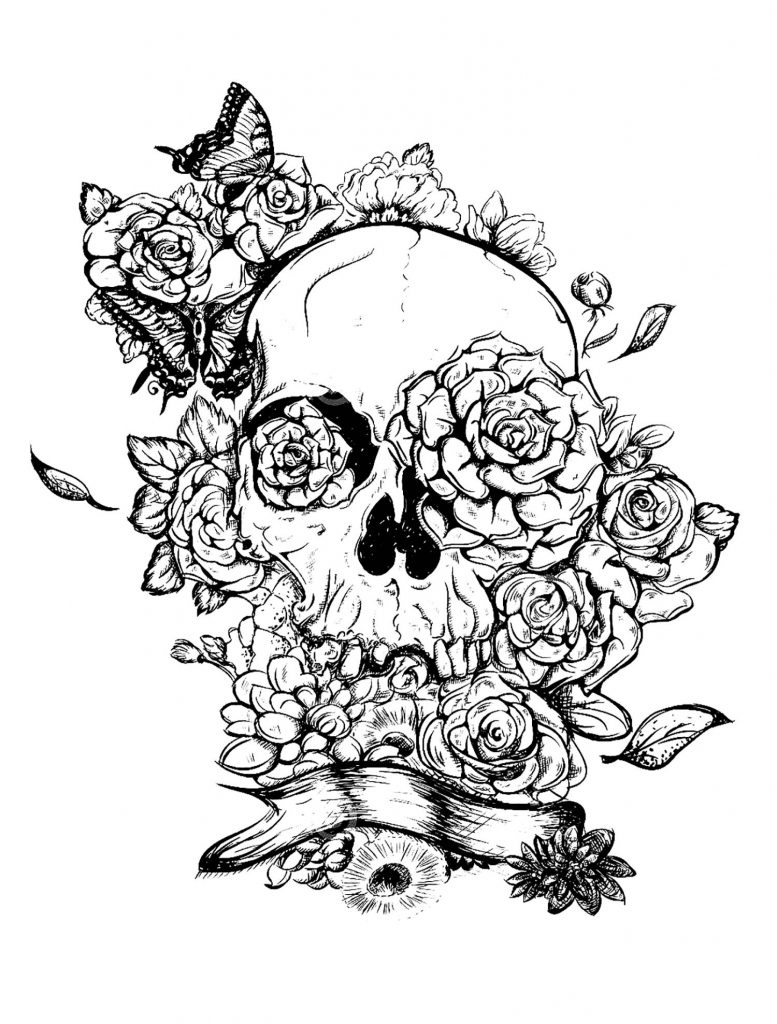 Skull and Roses Tattoo Coloring Pages for Adults
