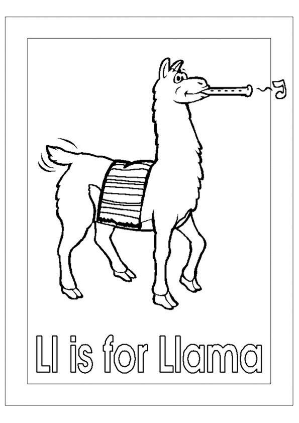 L is for Llama Coloring Page