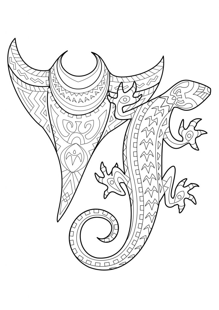 Lizard Tattoo Coloring Pages for Adults