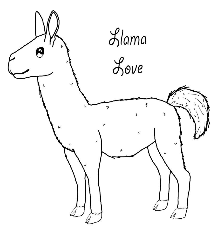 Llama Love Coloring Page