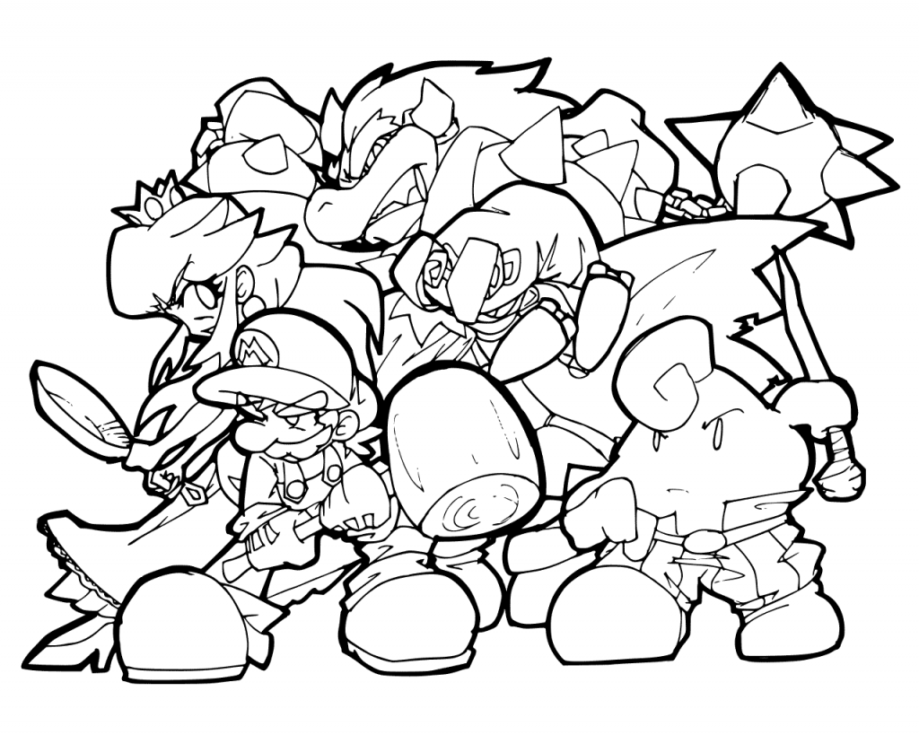 Mario Characters Coloring Page