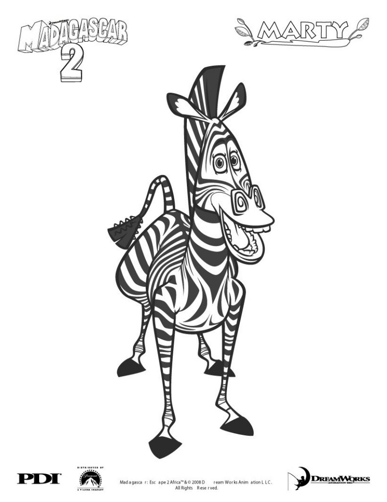 Marty - Madagascar Coloring Pages
