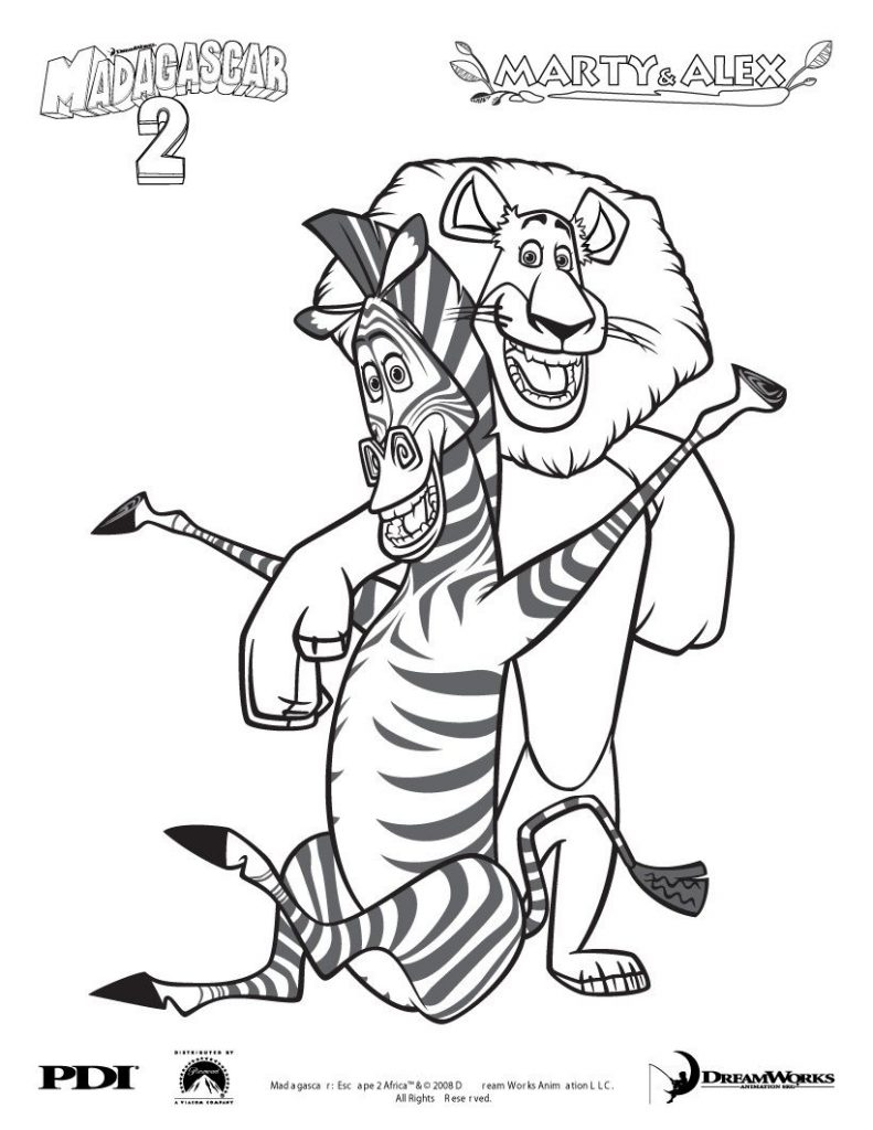 Marty and Alex - Madagascar Coloring Pages
