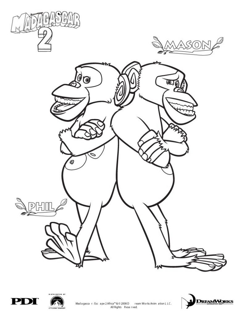 Phil and Mason - Madagascar Coloring Pages