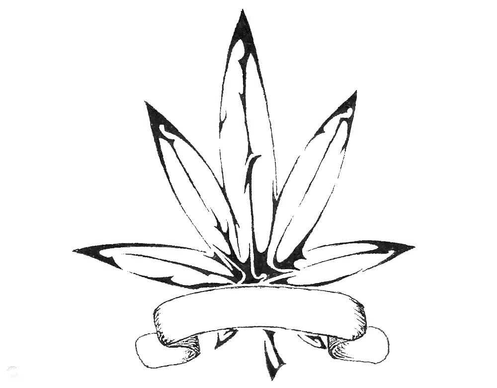 Pot Leaf Tattoo Coloring Page Adults