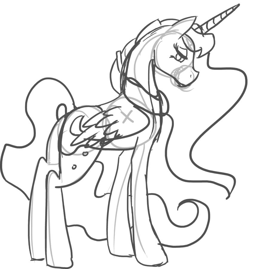 Princess Luna Sketch to Color