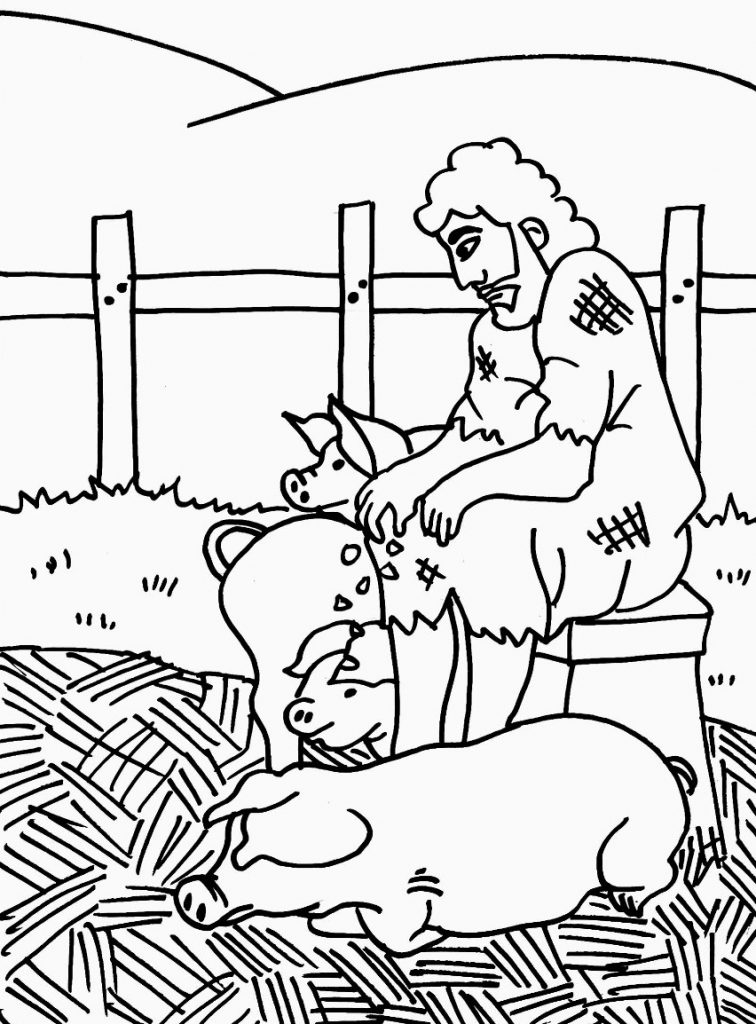 Prodigal Son Feeds Pigs Coloring Page