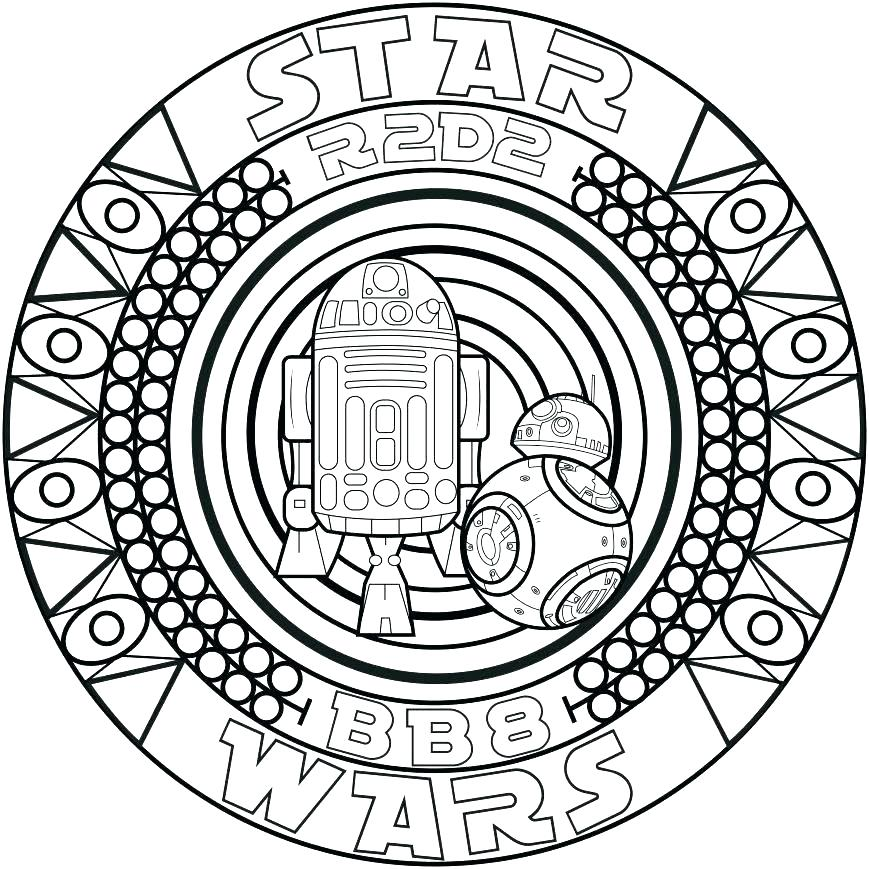 R2D2 BB8 Star Wars Coloring Page