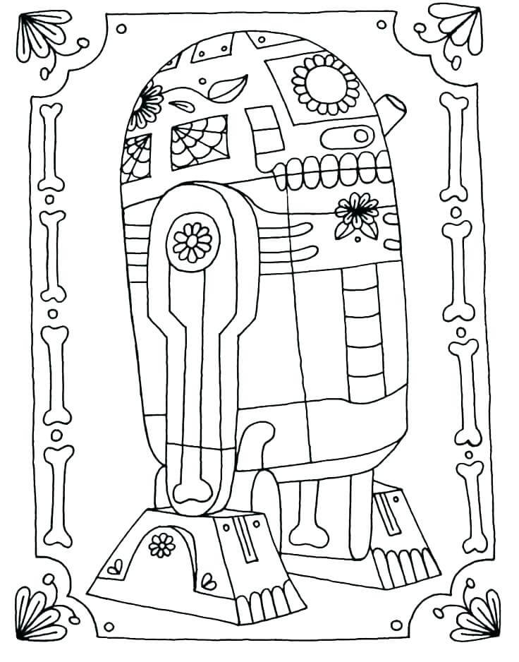 R2D2 Day of the Dead Coloring Page