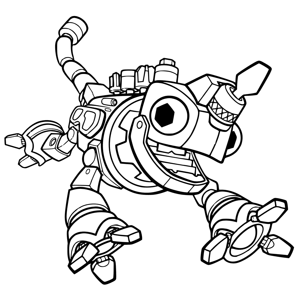 Robot Chameleon Coloring Page