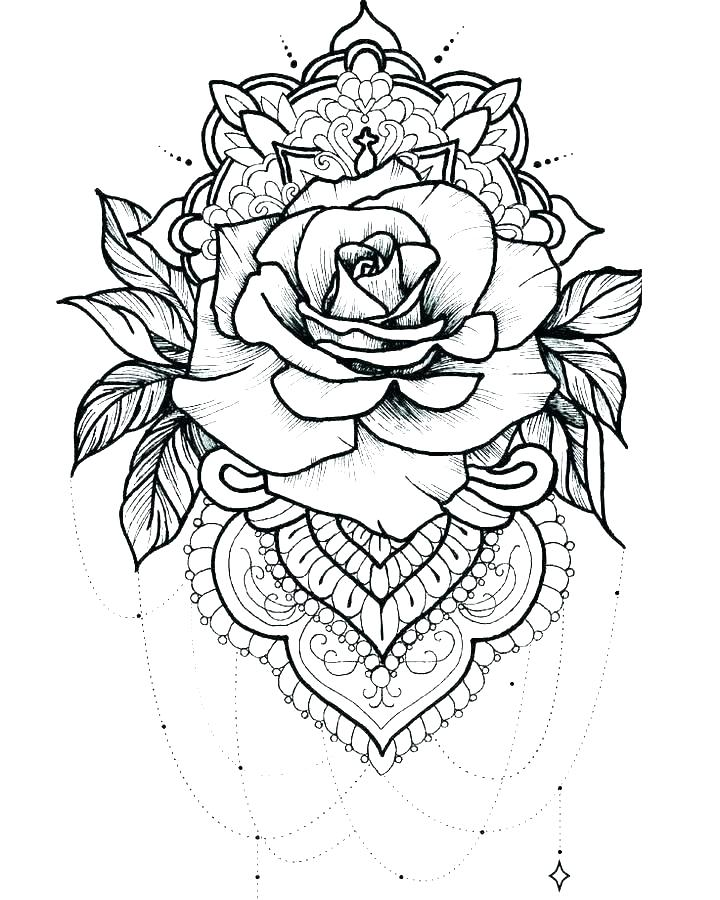 Rose Tattoo Coloring Page for Adults