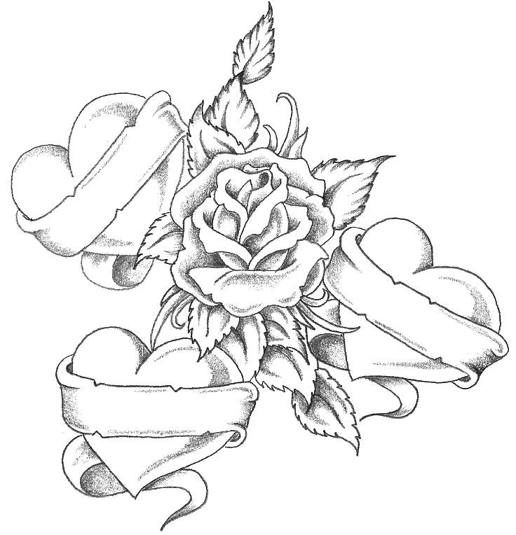 Roses Hearts Banners Tattoo Coloring Page