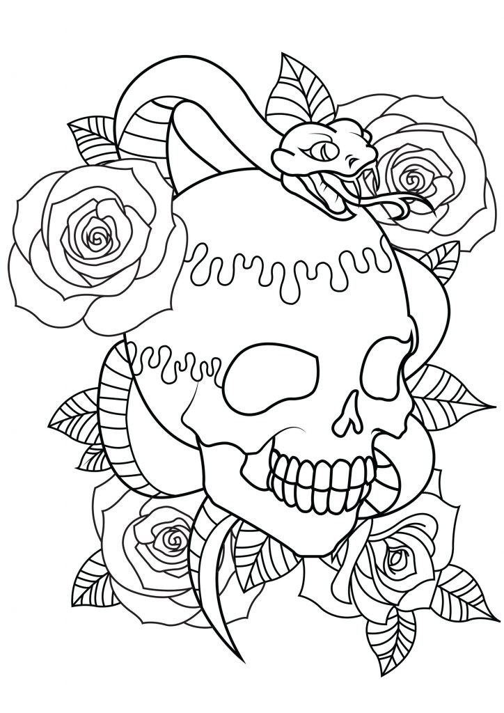 Skull Tattoo Coloring Pages for Adults