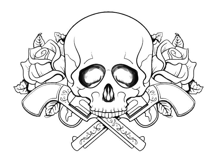Skull and Guns Tattoo Coloring Pages Adults