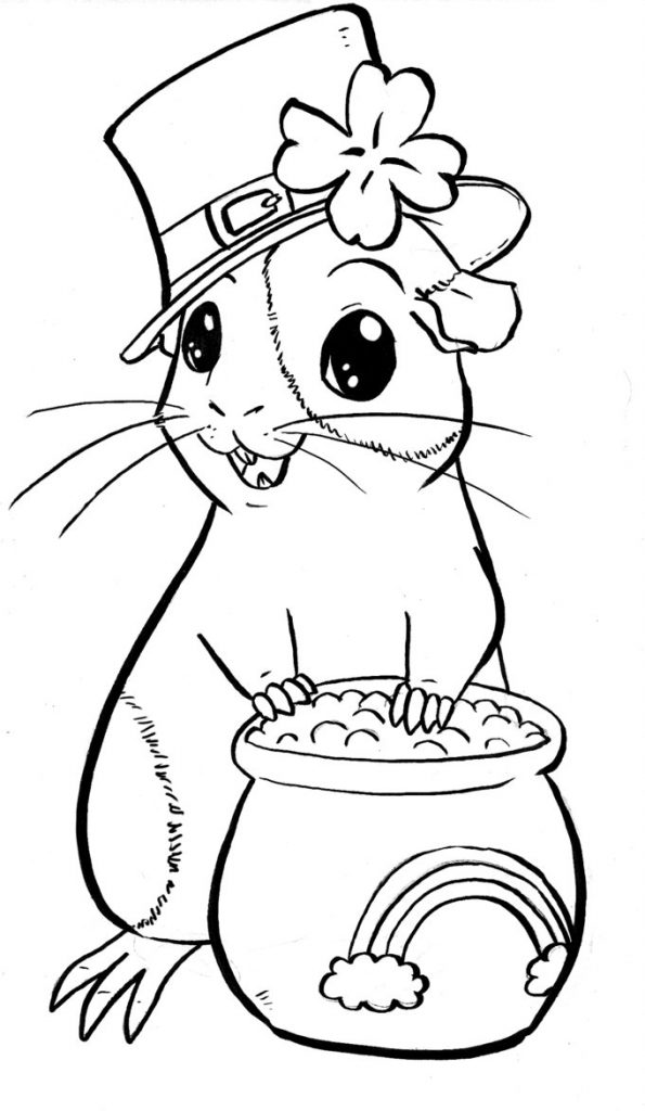 St Patricks Guinea Pig Coloring Page