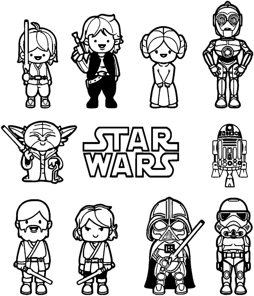 Star Wars Chibi Characters Coloring Page