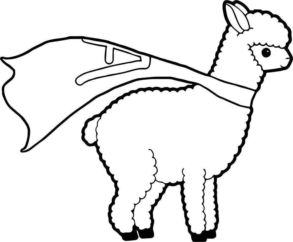 Super Llama Coloring Page