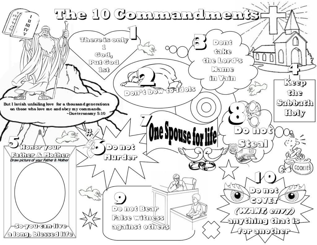 10 Commandments Coloring Printable