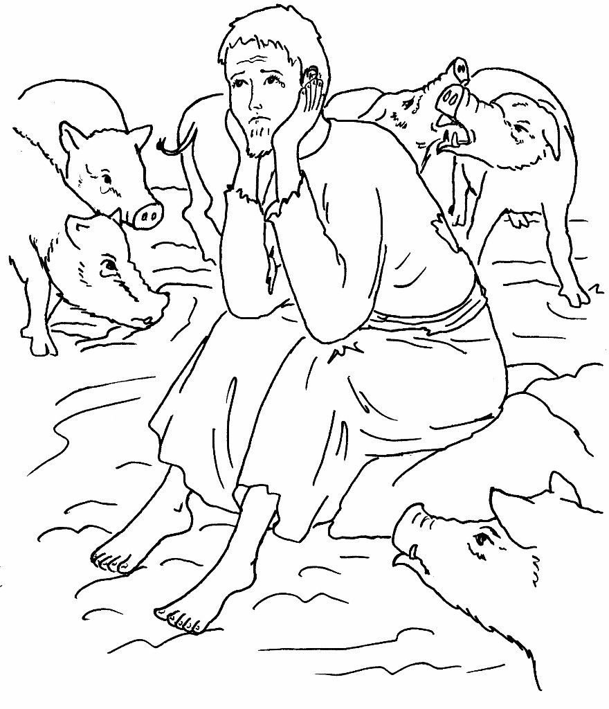The Prodigal Son Contemplates Coloring Page
