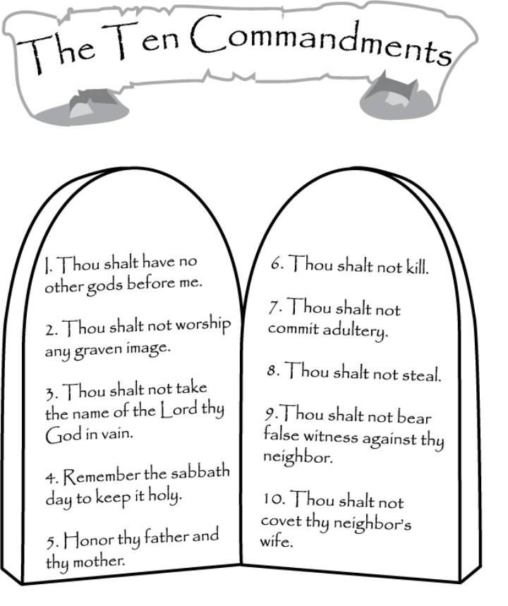 The Ten Commandments Coloring Page