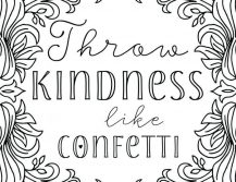 Throw Kindness like Confetti - Coloring Page