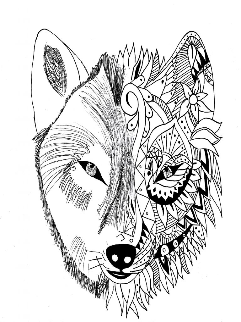 Wolf Tattoo Coloring Pages for Adults