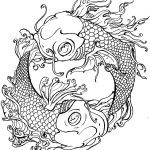 Yin Yang Fish Tattoo Adult Coloring