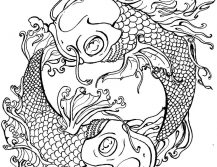 Yin Yang Fish Tattoo Adult Coloring