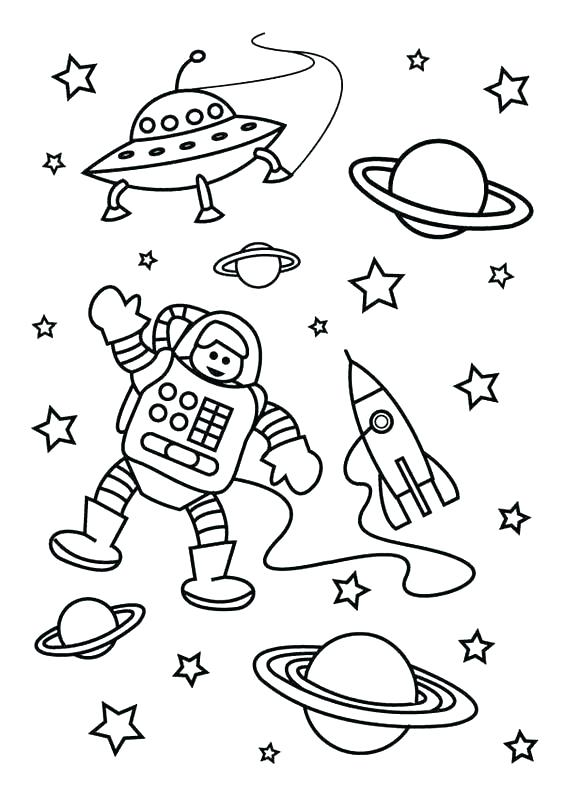 Astronaut in Galaxy Coloring Page