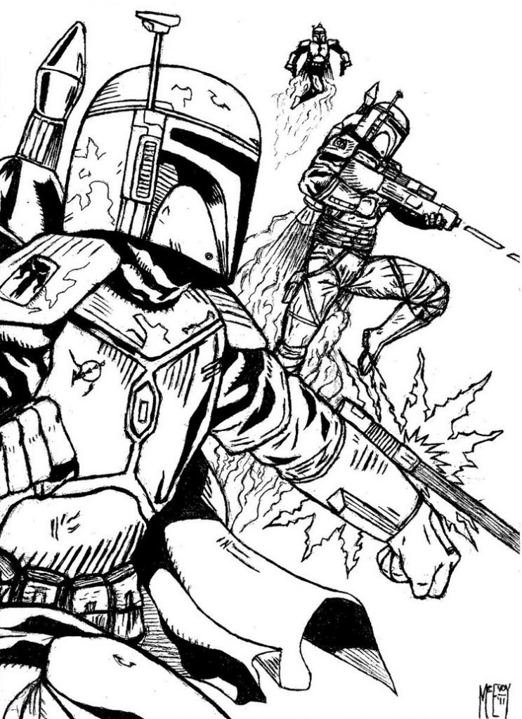Boba Fett Action Coloring Pages