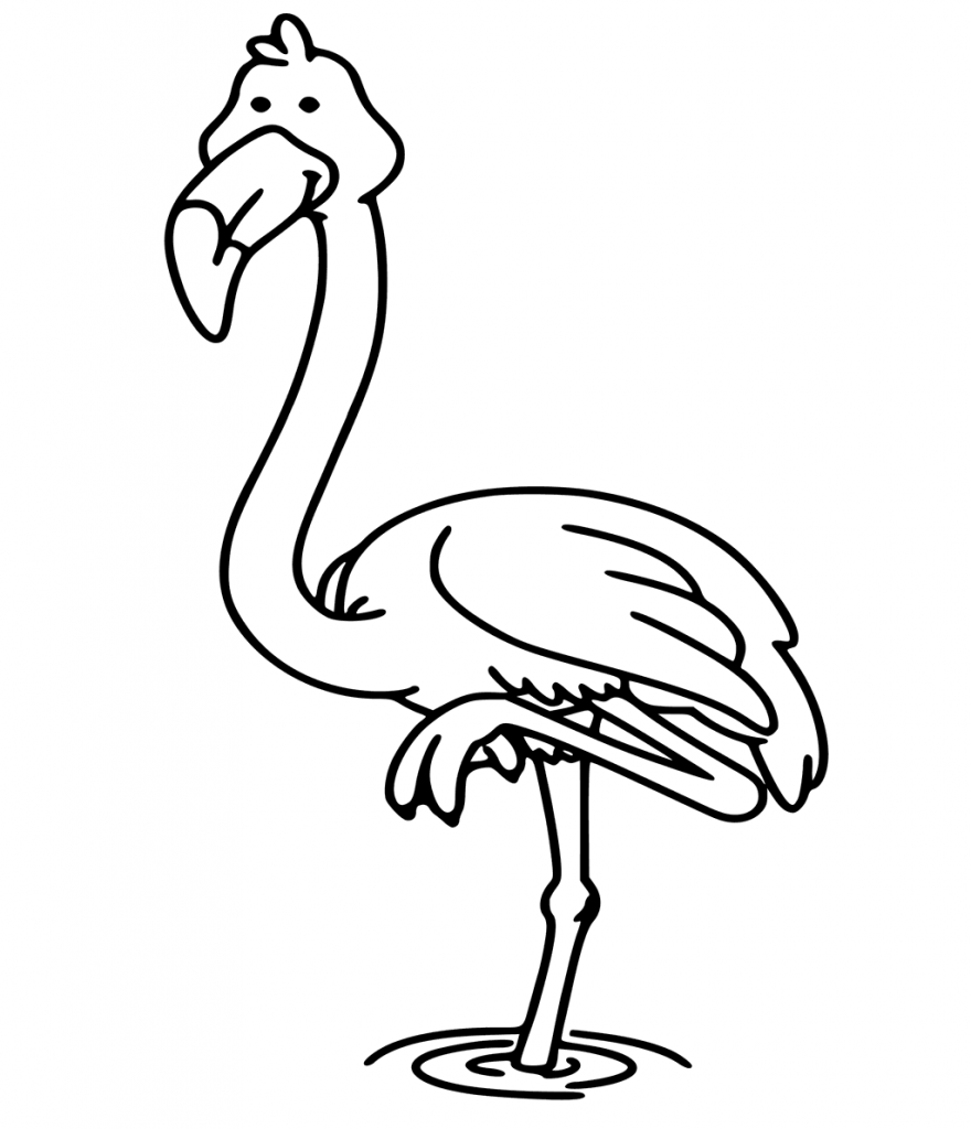 Cartoon Flamingo Coloring Page for Kids