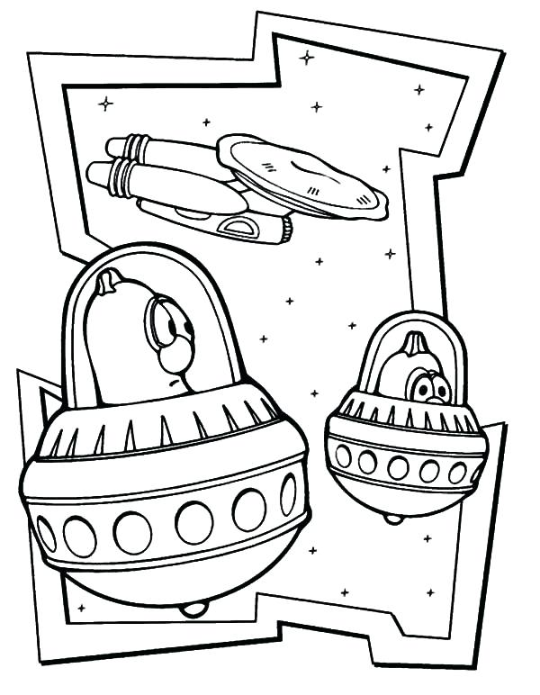 Cute Aliens in the Galaxy Coloring Page