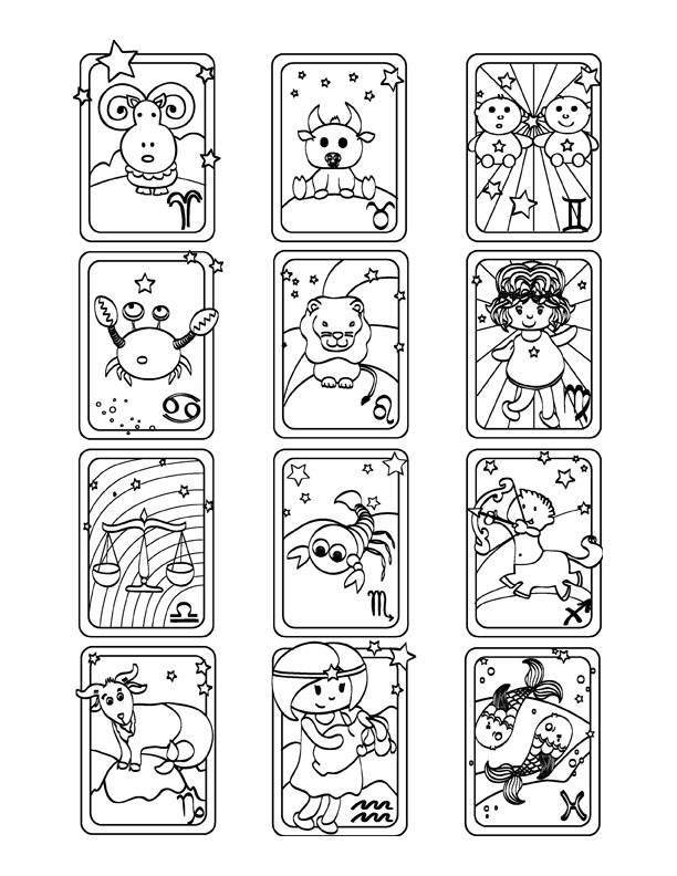 Cute Zodiac Signs Coloring Page
