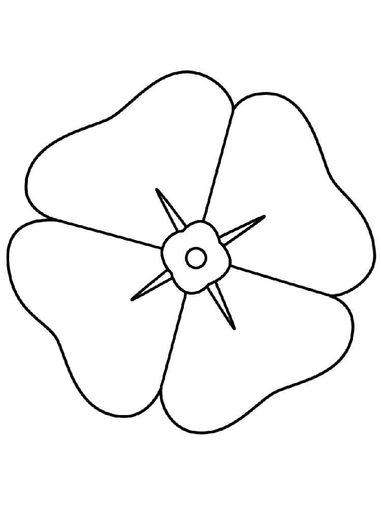 Easy Poppy Flower Coloring Page