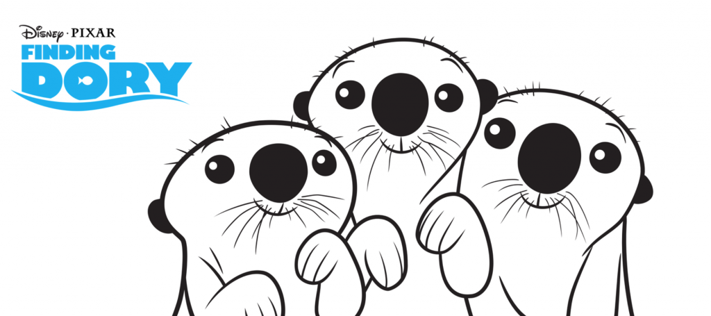 Finding Dory Otters Coloring Page