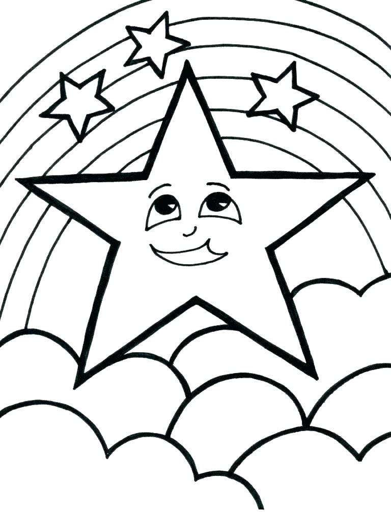 Happy Face Star and Rainbow Coloring Page