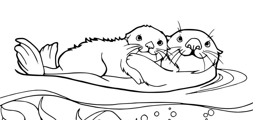 Mom And Baby Otters Coloring Page