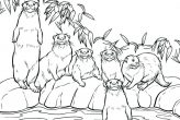 Otter Family Coloring Page