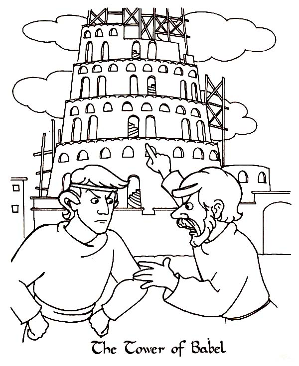 People Arguing Tower Of Babel Coloring Page