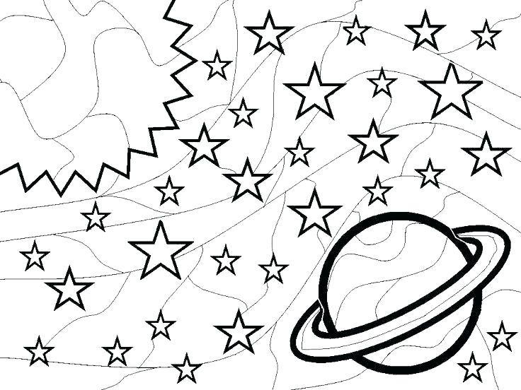Planets and Stars - Galaxy Coloring Pages