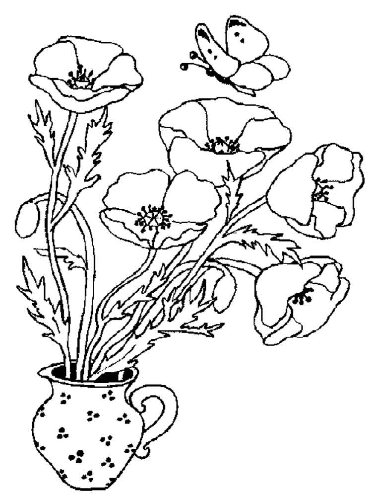 Poppies in Vase Coloring Page