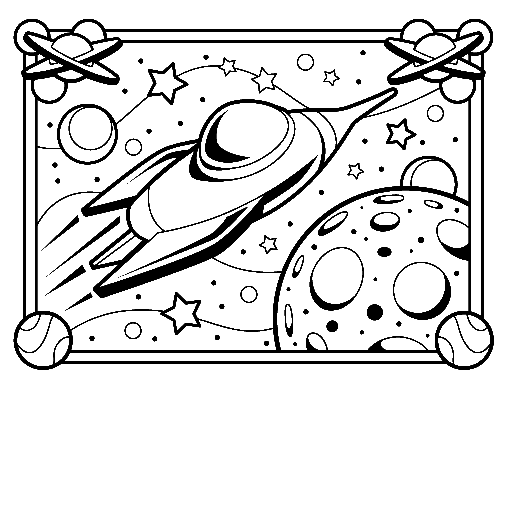 Rocketship in the Galaxy Coloring Page