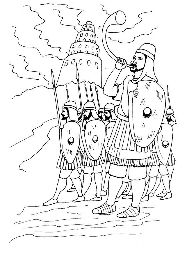 Soldiers At The Tower Of Babel Coloring Page
