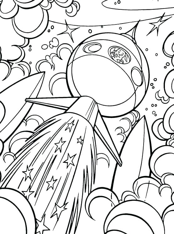 Space Ship Flying through the Galaxy Coloring Page