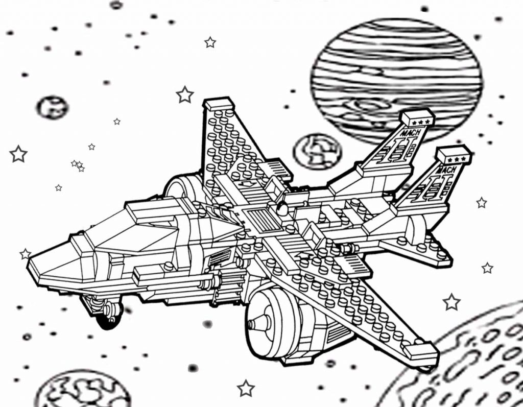 Spaceship out in the Galaxy Coloring Pages